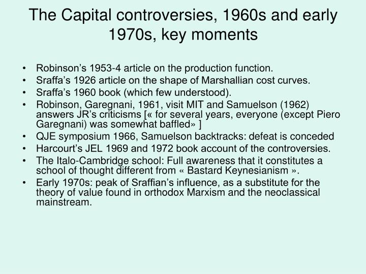 The Capital controversies, 1960s and early 1970s, key moments