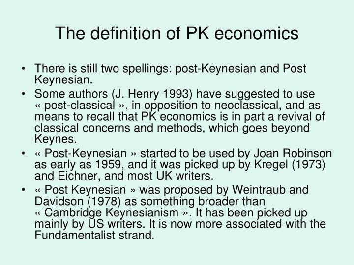 The definition of PK economics