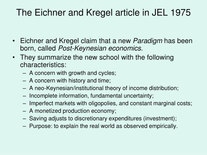 The Eichner and Kregel article in JEL 1975