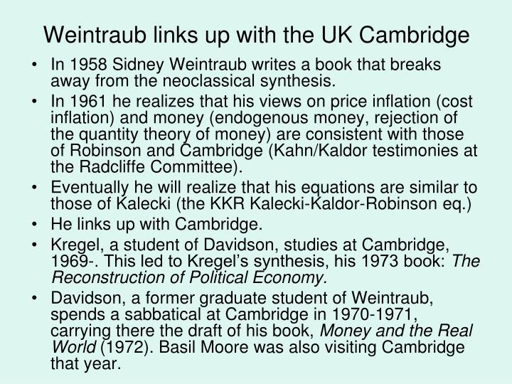 Weintraub links up with the UK Cambridge