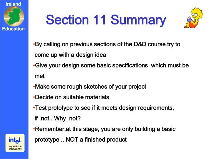 Section 11 Summary