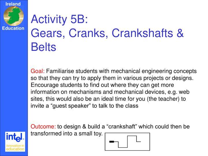 Activity 5B:                             Gears, Cranks, Crankshafts & Belts