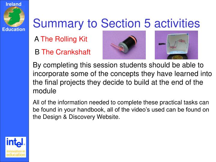 Summary to Section 5 activities