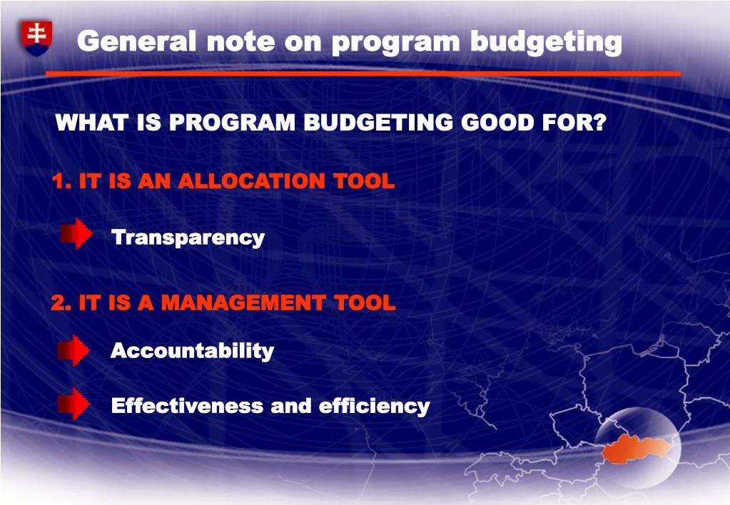 General note on program budgeting