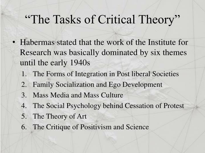 """""""The Tasks of Critical Theory"""""""