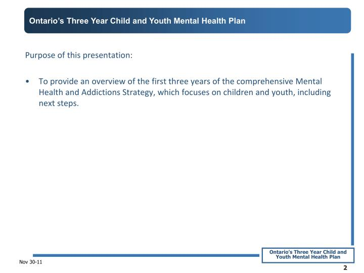 Ontario's Three Year Child and Youth Mental Health Plan