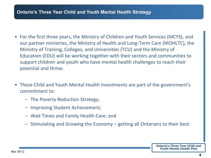Ontario's Three Year Child and Youth Mental Health Strategy