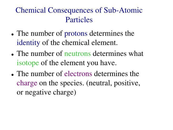 Chemical Consequences of Sub-Atomic Particles