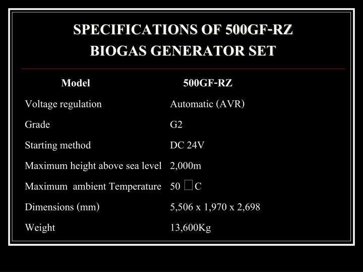 SPECIFICATIONS OF 500GF-RZ
