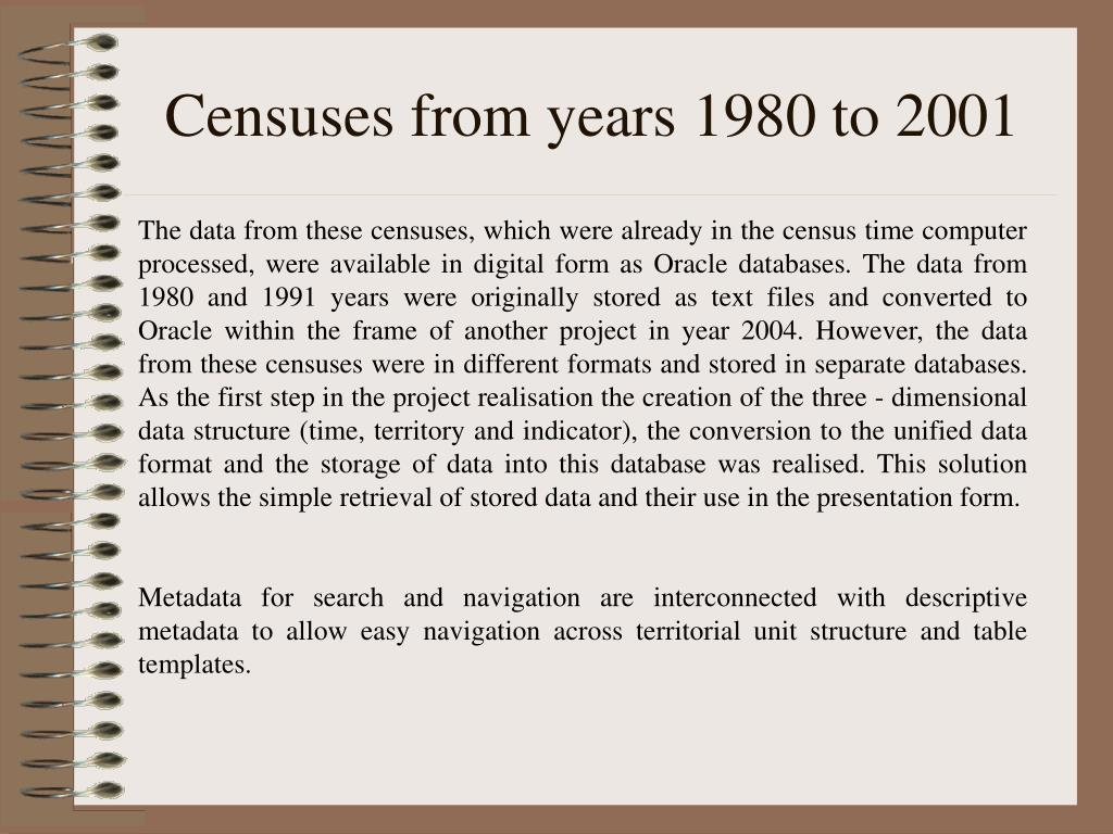 Censuses from years 1980 to 2001