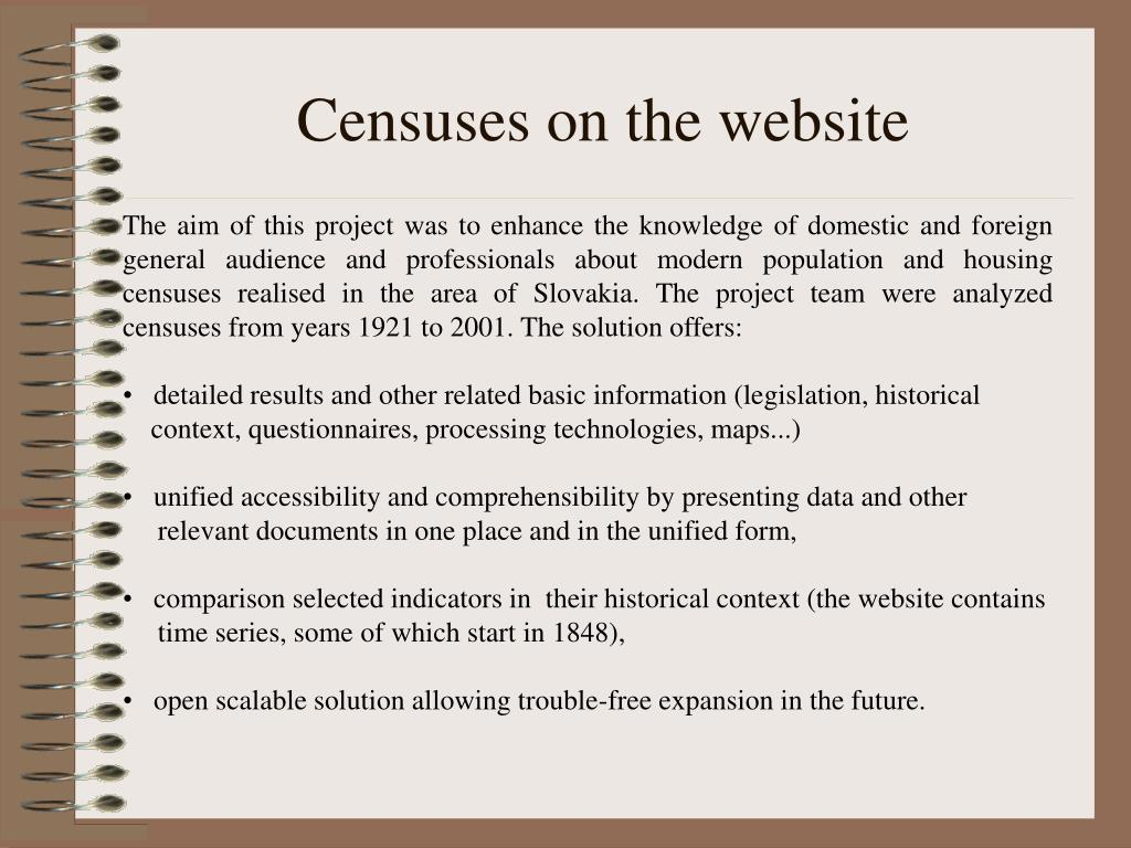 Censuses on the website