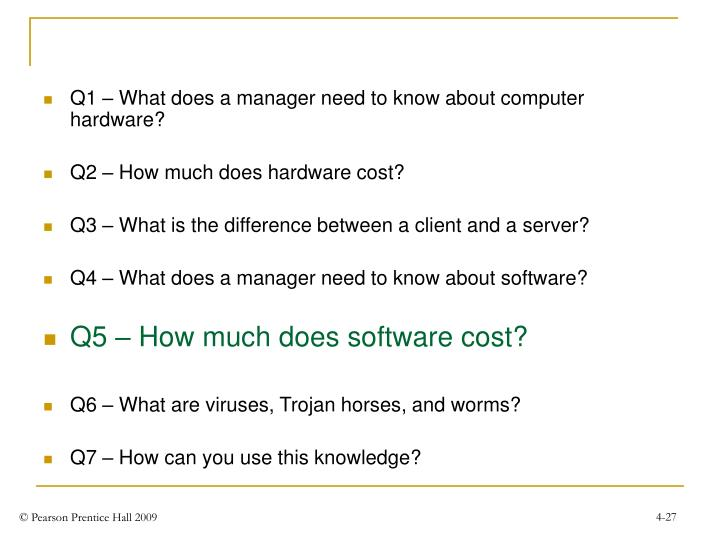 Q1 – What does a manager need to know about computer hardware?