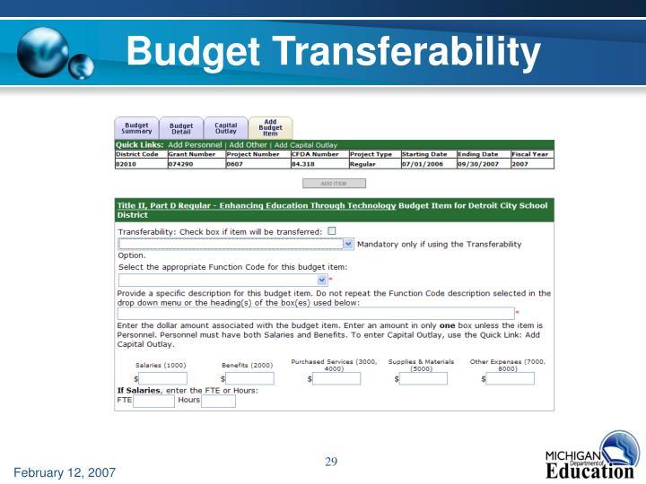 Budget Transferability