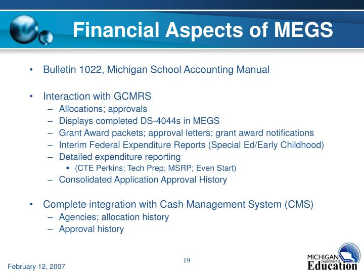 Financial Aspects of MEGS