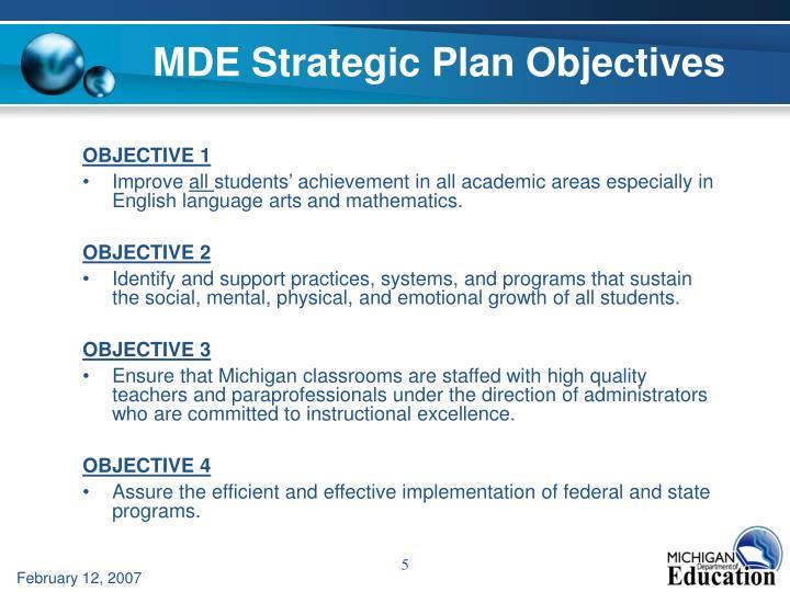 MDE Strategic Plan Objectives