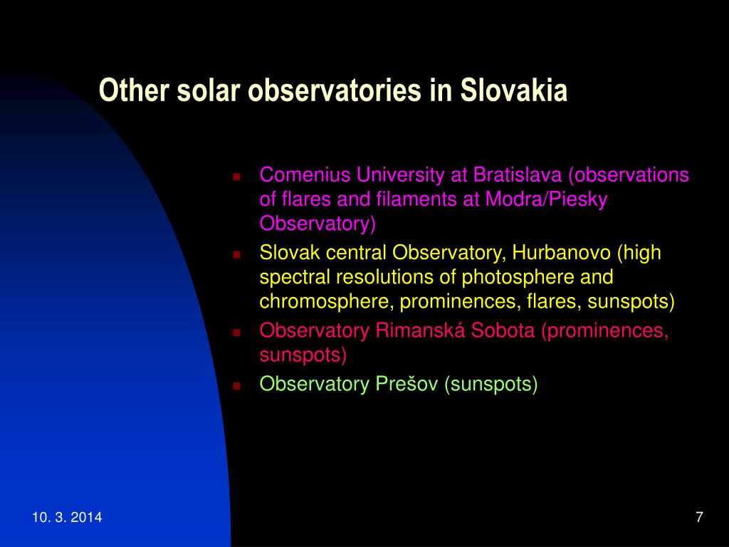 Other solar observatories in Slovakia