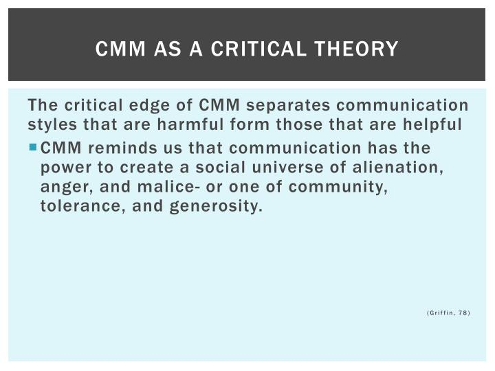 CMM AS A CRITICAL THEORY