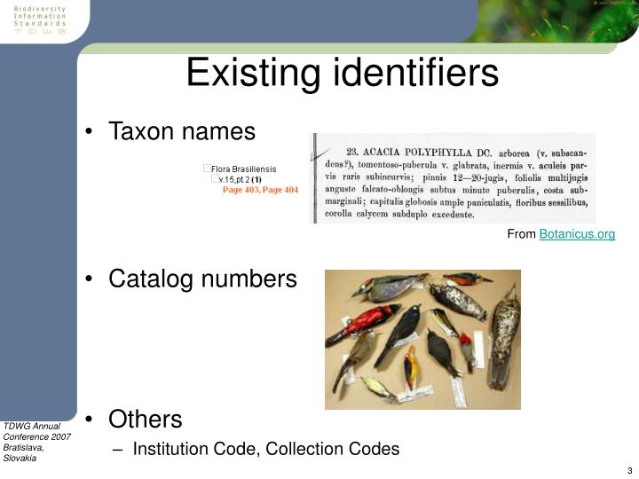 Existing identifiers
