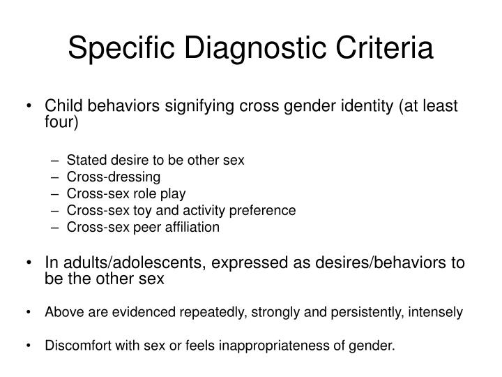 Specific Diagnostic Criteria