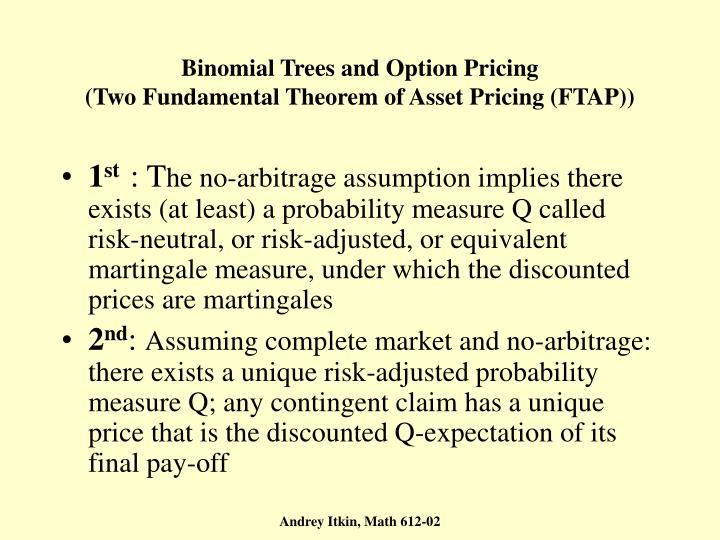 Binomial Trees and Option Pricing