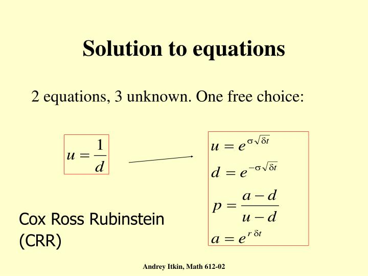 Solution to equations