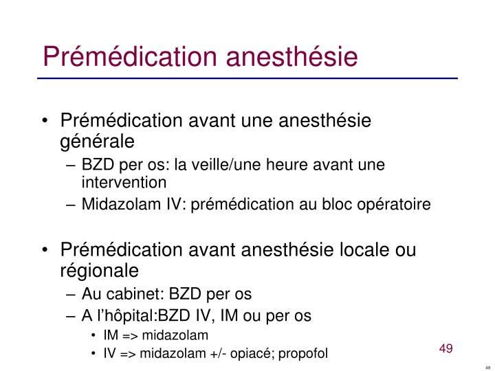 Prémédication anesthésie