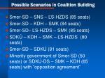possible scenarios in coalition building