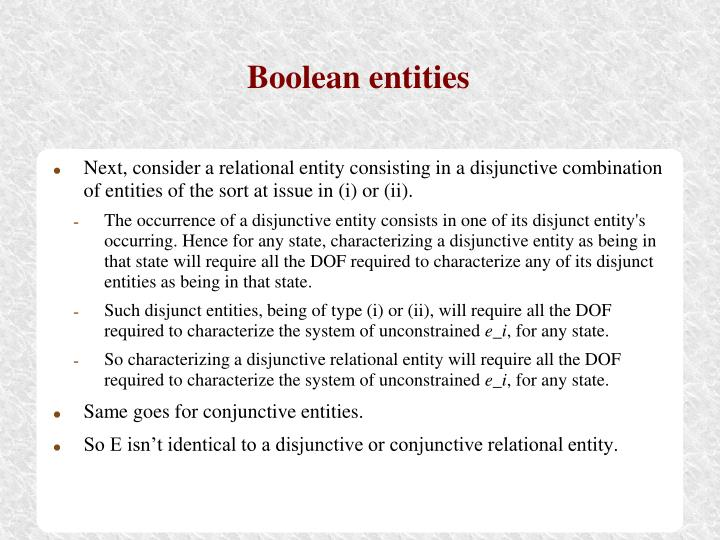 Boolean entities