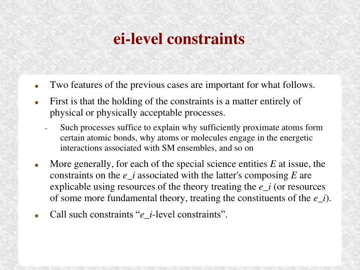 ei-level constraints