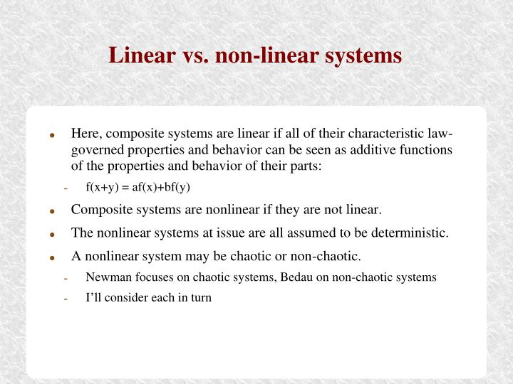 Linear vs. non-linear systems