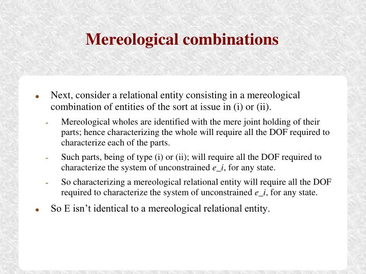 Mereological combinations