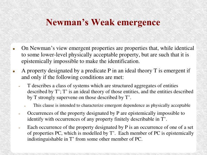 Newman's Weak emergence