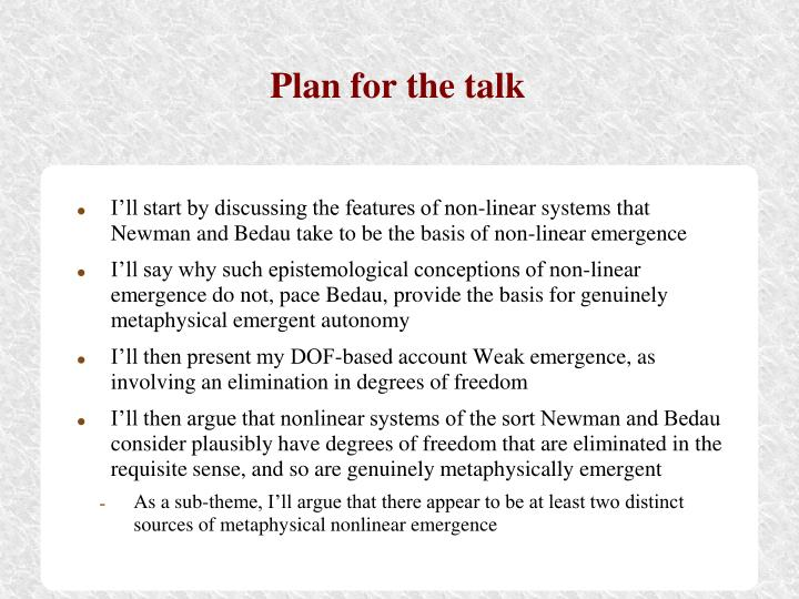 Plan for the talk