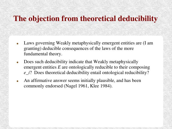 The objection from theoretical deducibility