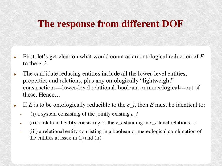 The response from different DOF