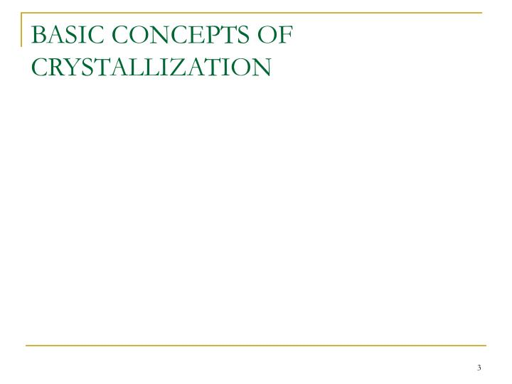 BASIC CONCEPTS OF CRYSTALLIZATION