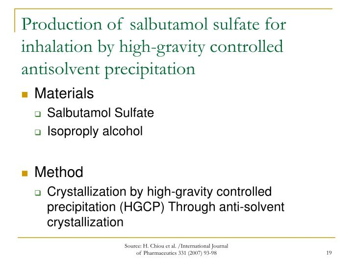 Production of salbutamol sulfate for inhalation by high-gravity controlled antisolvent precipitation