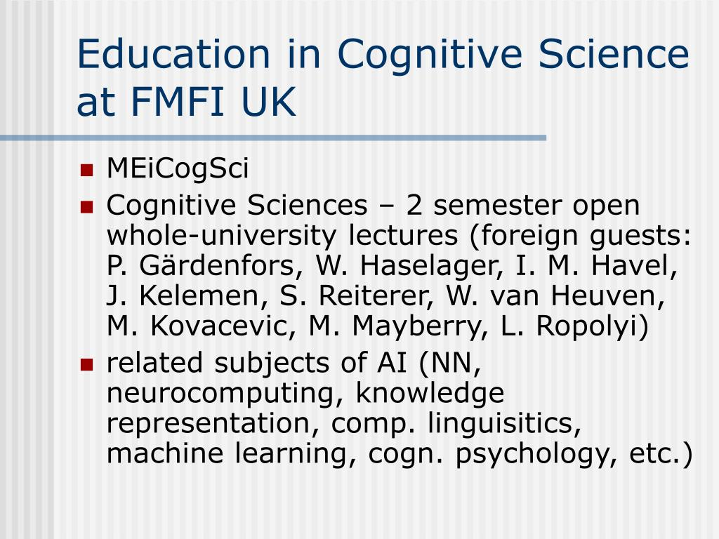 Education in Cognitive Science