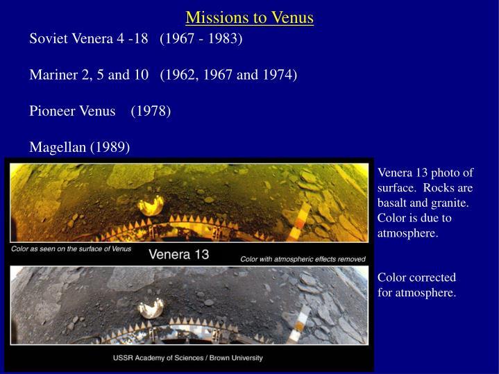Missions to Venus