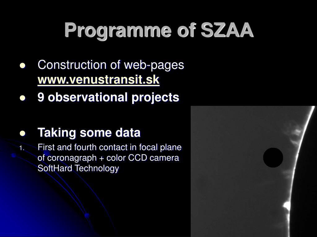 Programme of SZAA