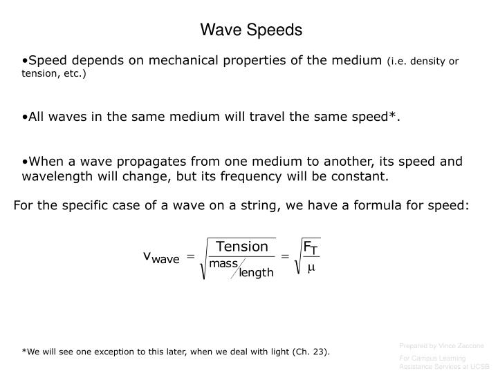 Wave Speeds