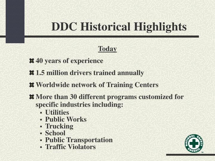 DDC Historical Highlights