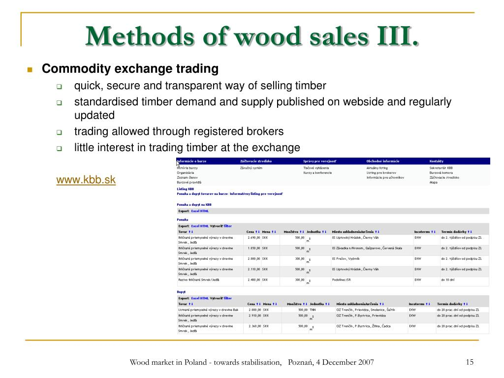 Methods of wood sales III.