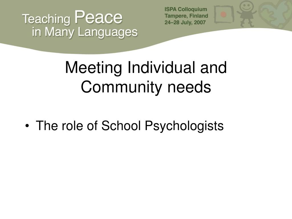 Meeting Individual and Community needs