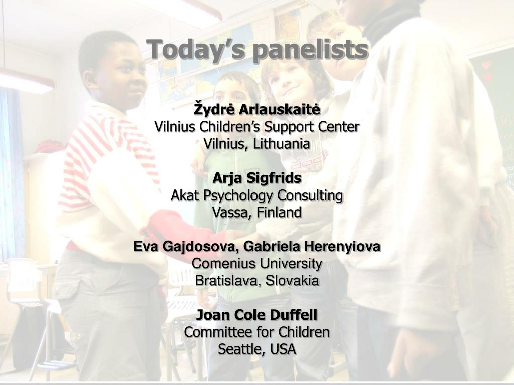 Today's panelists