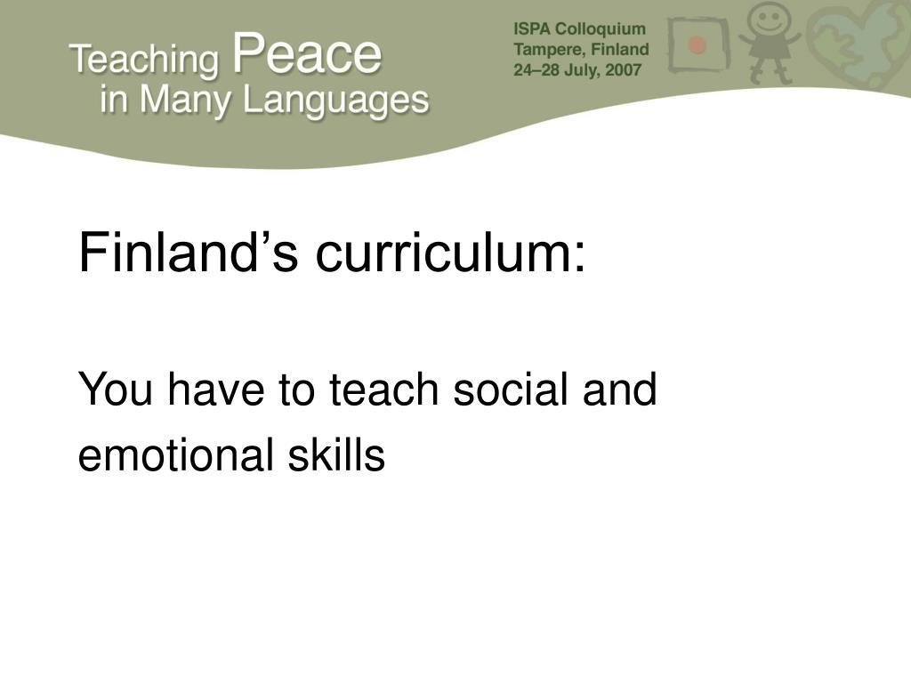 Finland's curriculum: