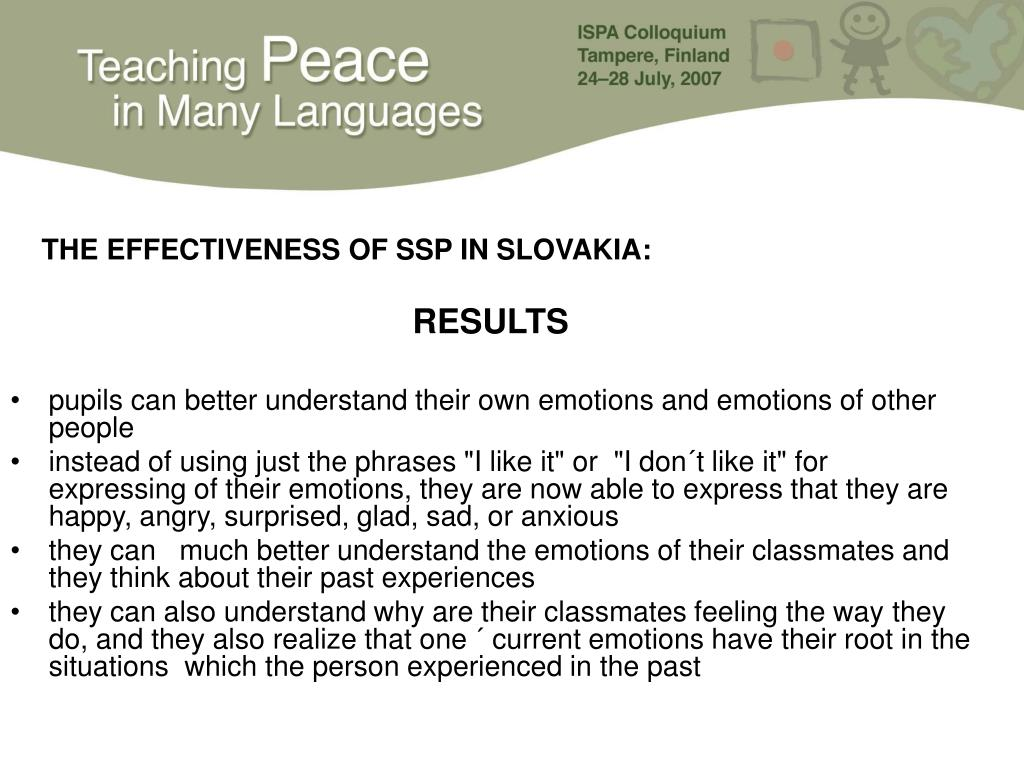 THE EFFECTIVENESS OF SSP IN SLOVAKIA