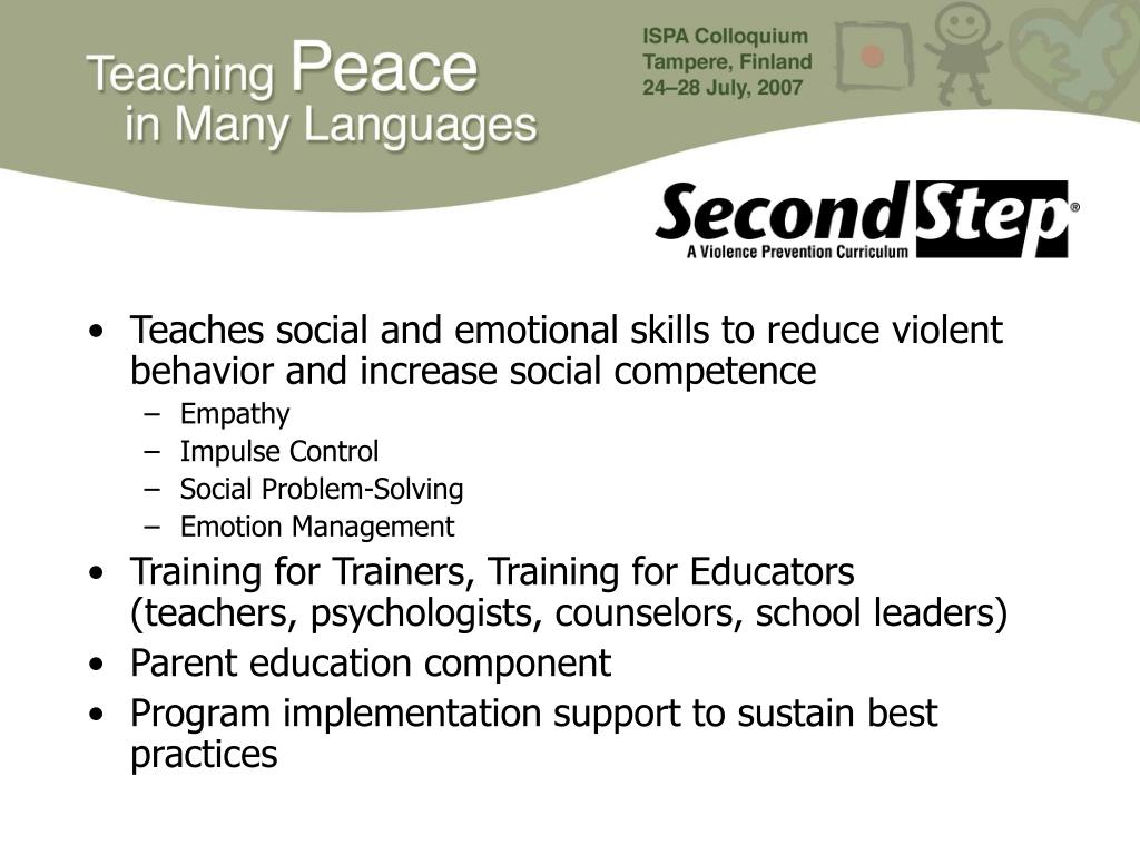Teaches social and emotional skills to reduce violent behavior and increase social competence