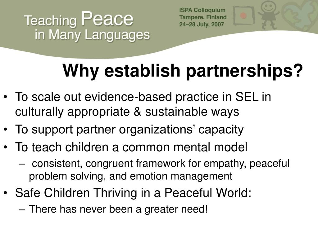Why establish partnerships?