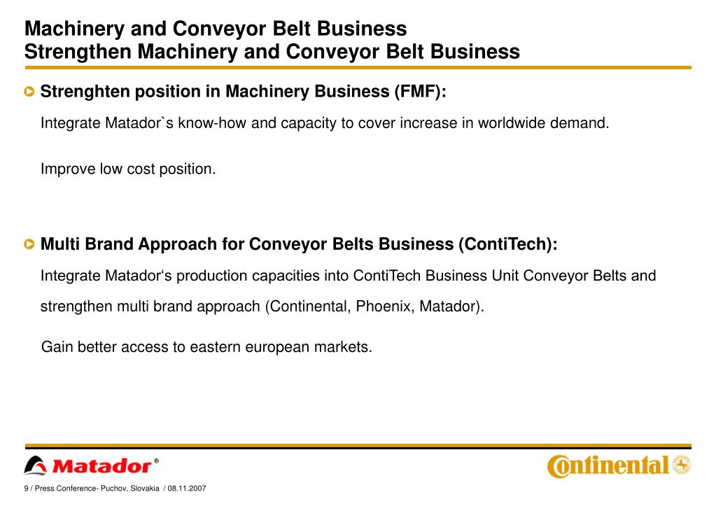 Machinery and Conveyor Belt Business